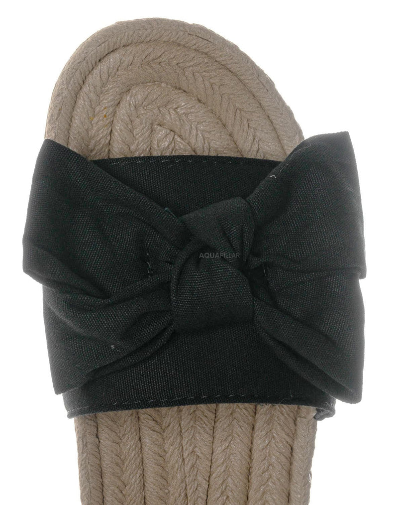 Black Cvs / Demeter01 Espadrille Flat Slide In Sandal - Bow Tie Braided Rope Slipper