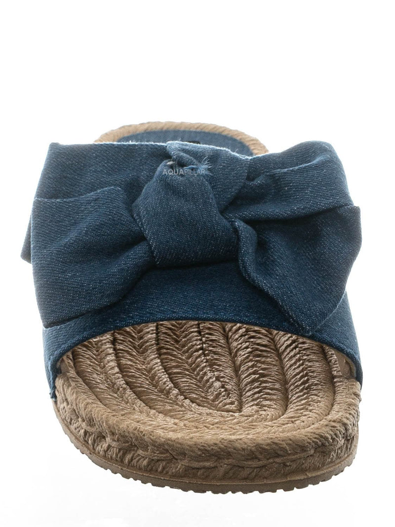 Denim Blue / Demeter01 Espadrille Flat Slide In Sandal - Bow Tie Braided Rope Slipper