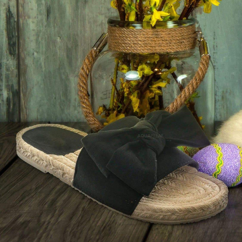 Demeter01 Espadrille Flat Slide In Sandal - Bow Tie Braided Rope Slipper