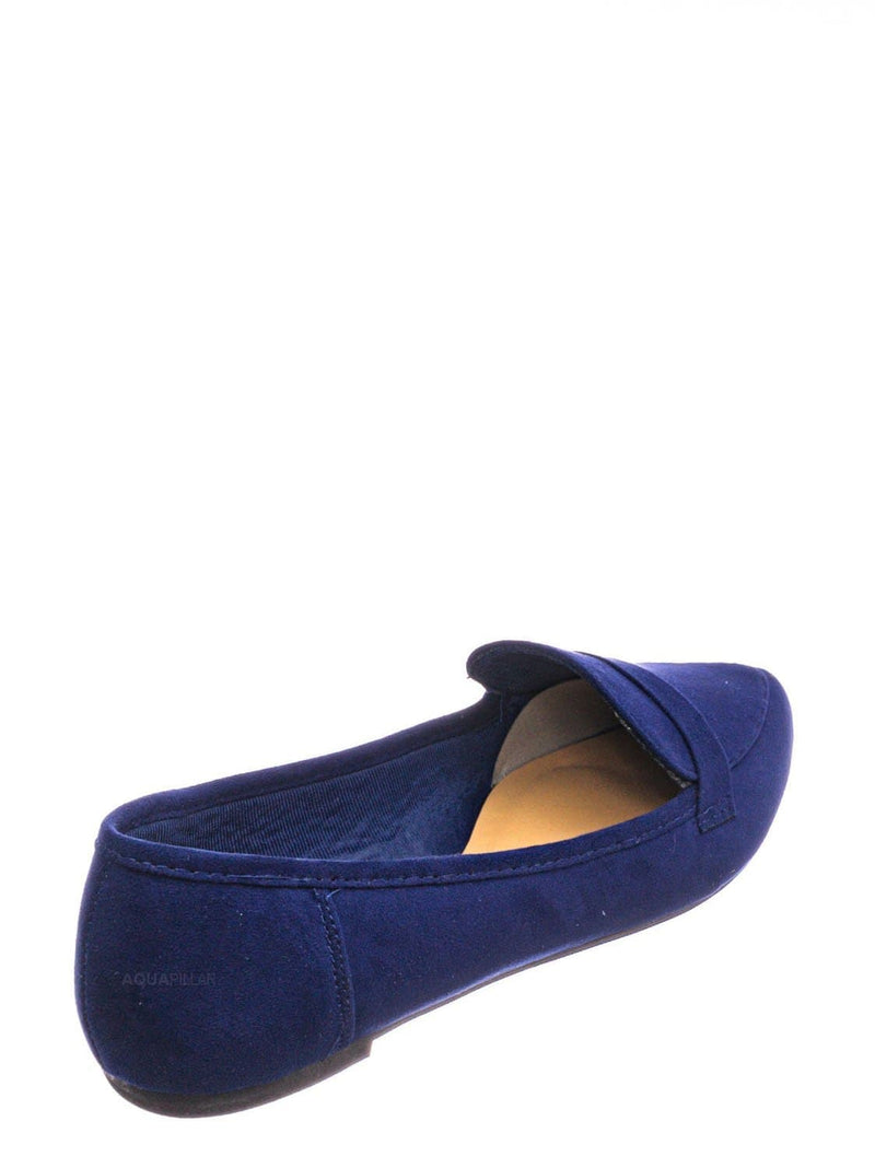 Navy Blue / Diary42 Pointed Toe Penny Loafer - Womens Flat Slip On Oxford Moccasins
