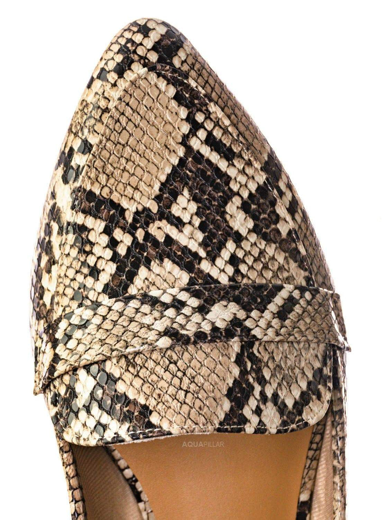 Beige Snake / Diary42 Pointed Toe Penny Loafer - Womens Flat Slip On Oxford Moccasins