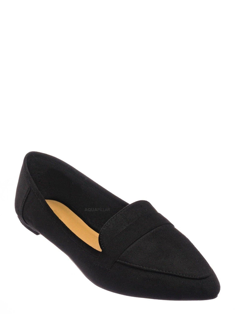Black F-Suede / Diary42 Pointed Toe Penny Loafer - Womens Flat Slip On Oxford Moccasins