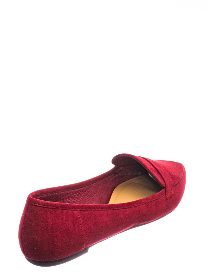Wine Red / Diary42 Pointed Toe Penny Loafer - Womens Flat Slip On Oxford Moccasins