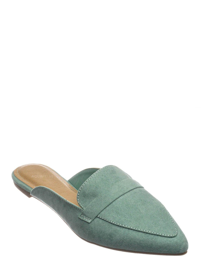 Sage Green / Diary55 Pointed Toe Flat Mule - Women Slide In Backless Loafer w Parallel Band