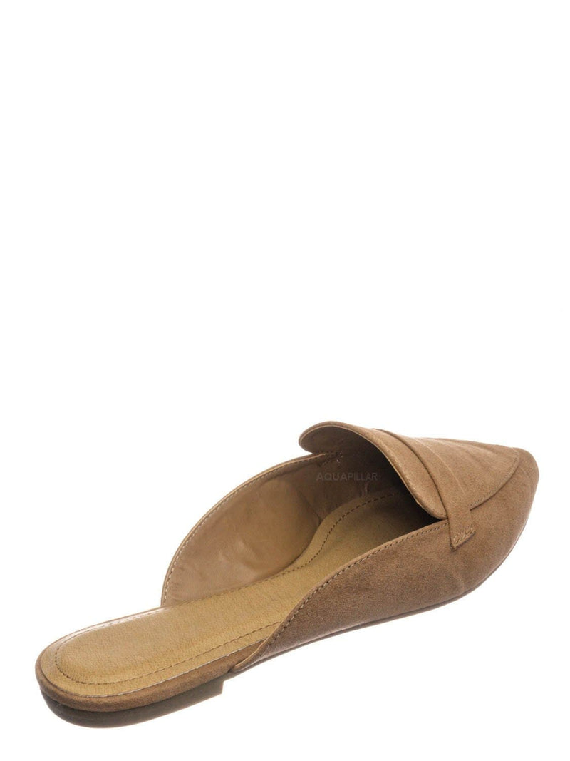 Camel Beige / Diary55 Pointed Toe Flat Mule - Women Slide In Backless Loafer w Parallel Band