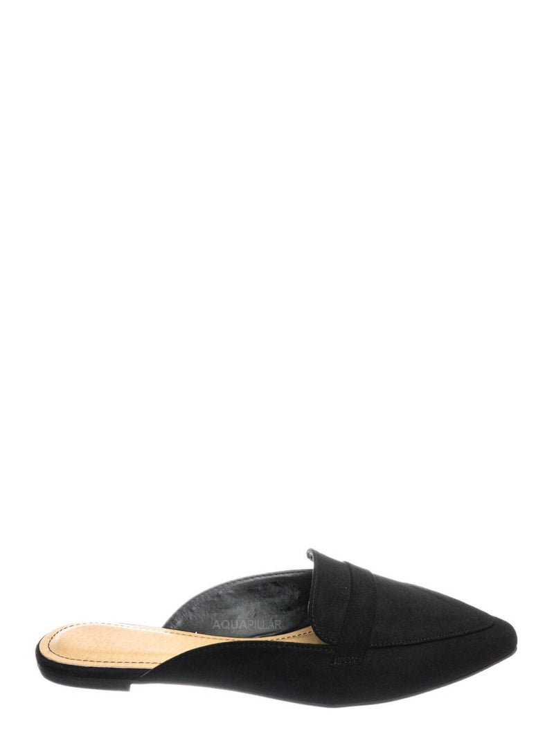 Black F-Suede / Diary55 Pointed Toe Flat Mule - Women Slide In Backless Loafer w Parallel Band
