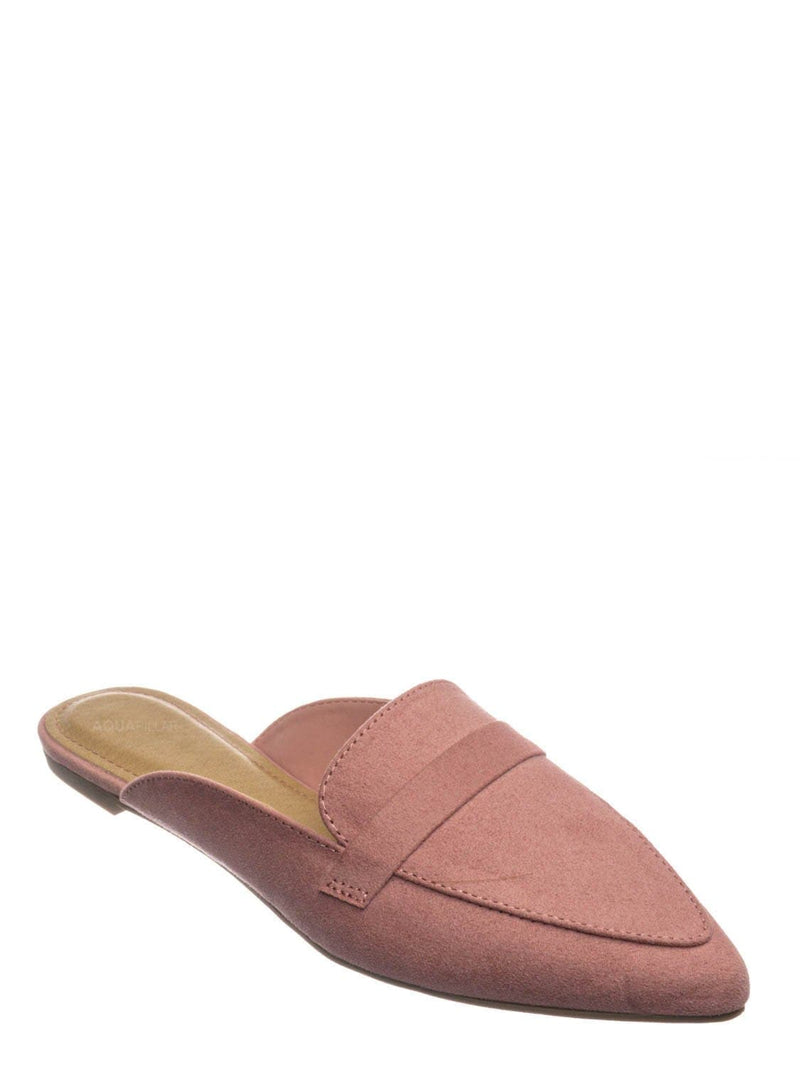 Blush Pink / Diary55 Pointed Toe Flat Mule - Women Slide In Backless Loafer w Parallel Band