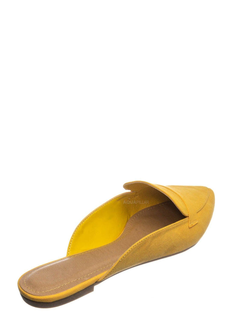 Amber Yellow / Diary55 Pointed Toe Flat Mule - Women Slide In Backless Loafer w Parallel Band