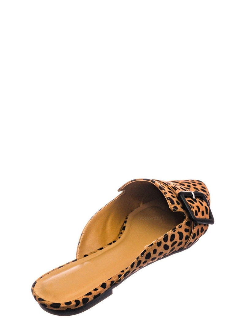 Cheetah F-Suede / Diary57 Pointed Toe Belted Mule - Womens Flat Backless Oxford Moccasins Slipper