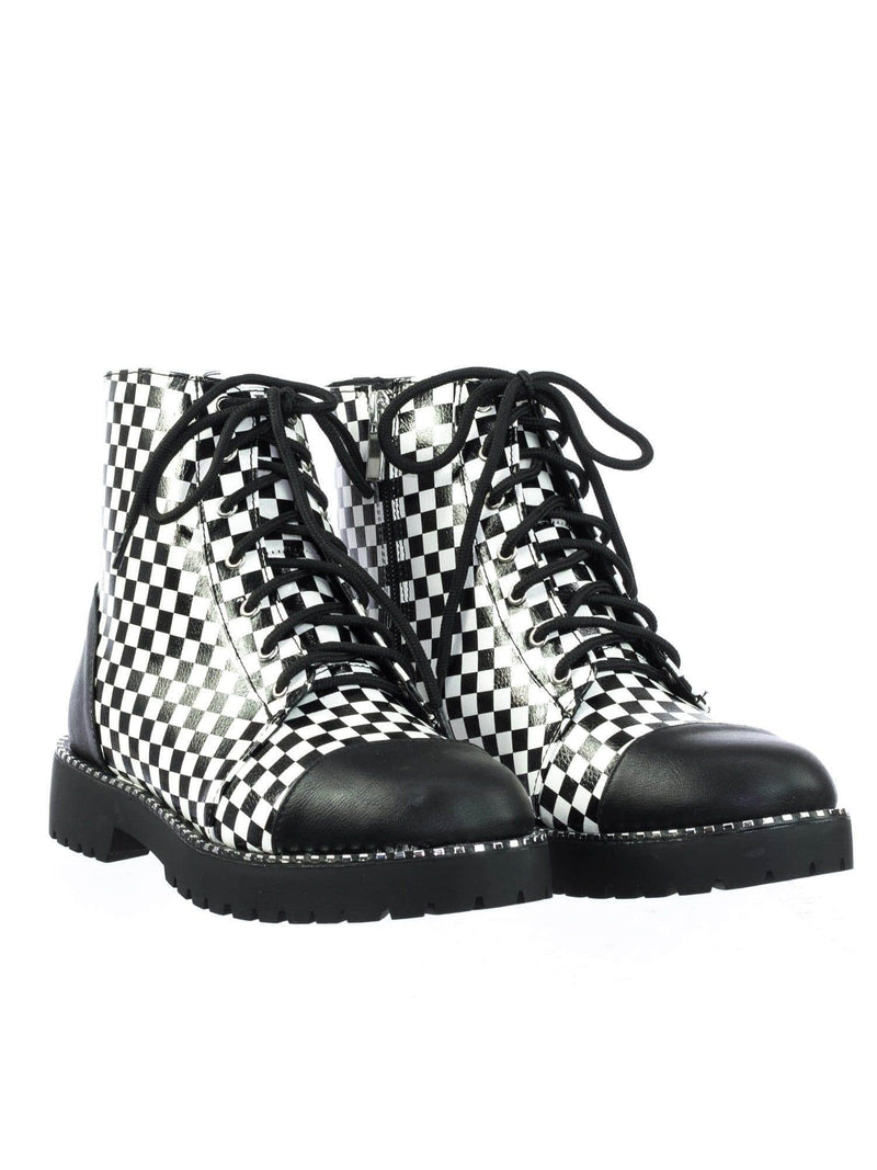 Direct11 BlkWht Micro Metal Stud Combat Ankle Booties w Threaded Lug Sole