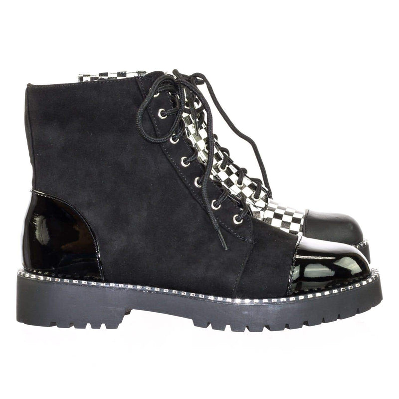 Direct11 BlkFs Micro Metal Stud Combat Ankle Booties w Threaded Lug Sole