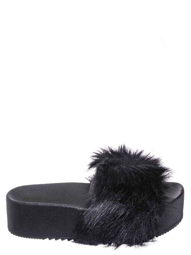 Black / Donut30 Thick Platform Footbed Furry Sandal - Fluffy Tie Die EVA Slides Sandal