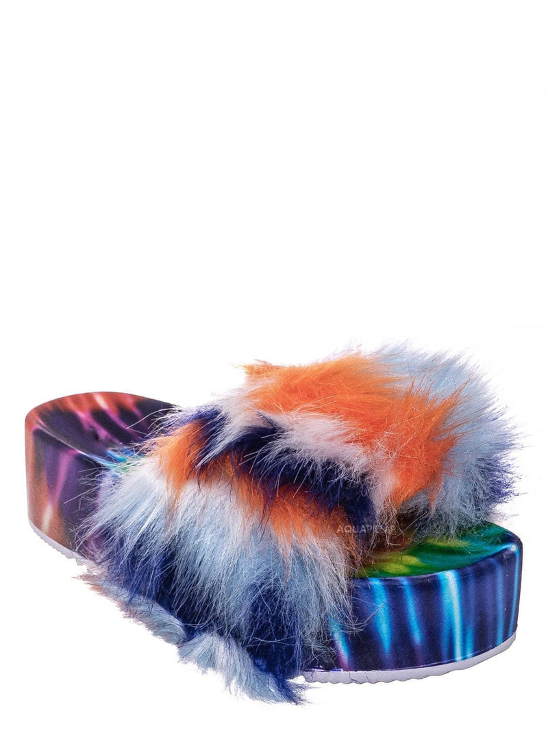 Blue Multi / Donut30 Thick Platform Footbed Furry Sandal - Fluffy Tie Die EVA Slides Sandal