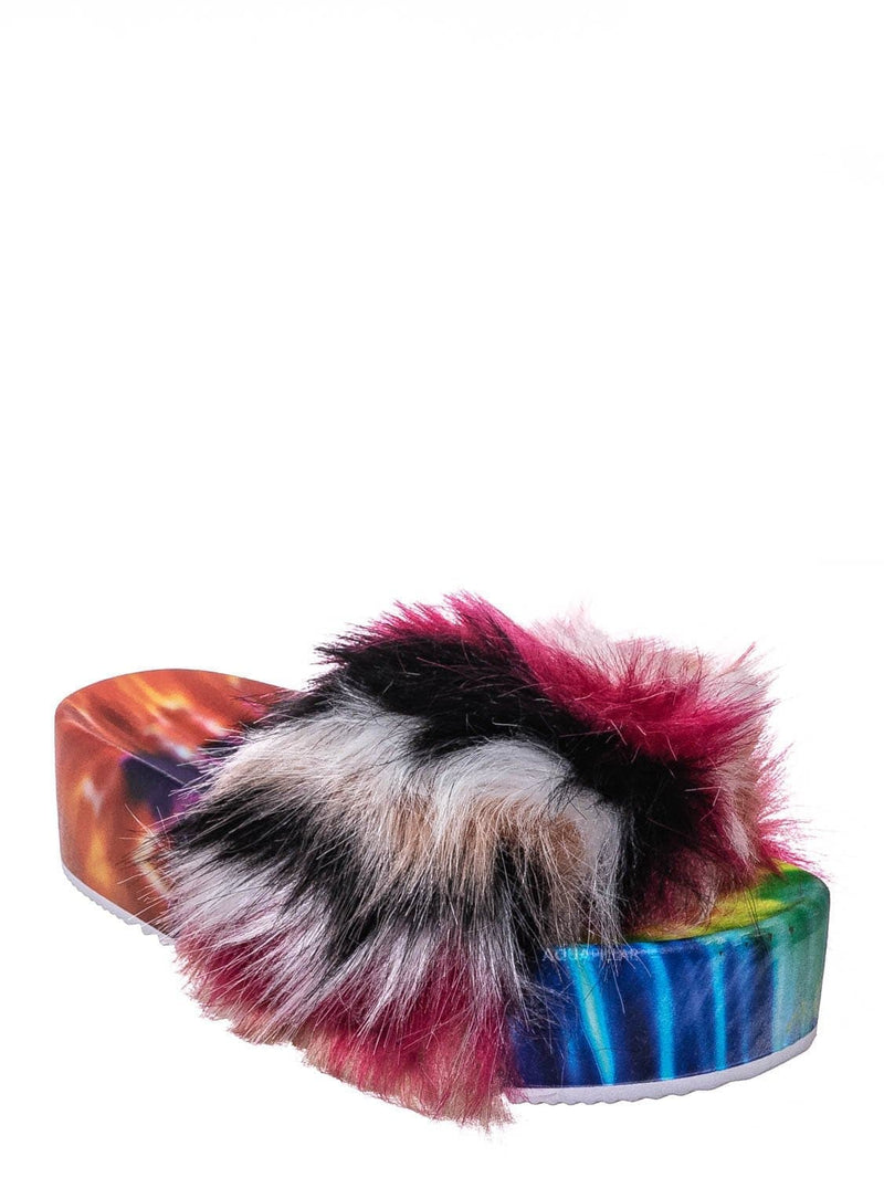 Red Multi / Donut30 Thick Platform Footbed Furry Sandal - Fluffy Tie Die EVA Slides Sandal