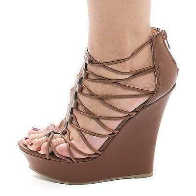 Dreamer48V Chestnut By Bamboo, Strappy Looped Open Toe Platform High Wedge Sandals