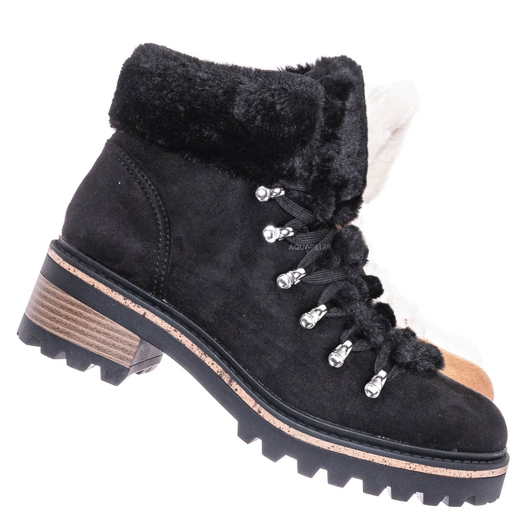 Black F-Suede / Edison05 Shearling Military Combat Bootie -Faux Fur Collar Lace Up Lug Sole Shoe