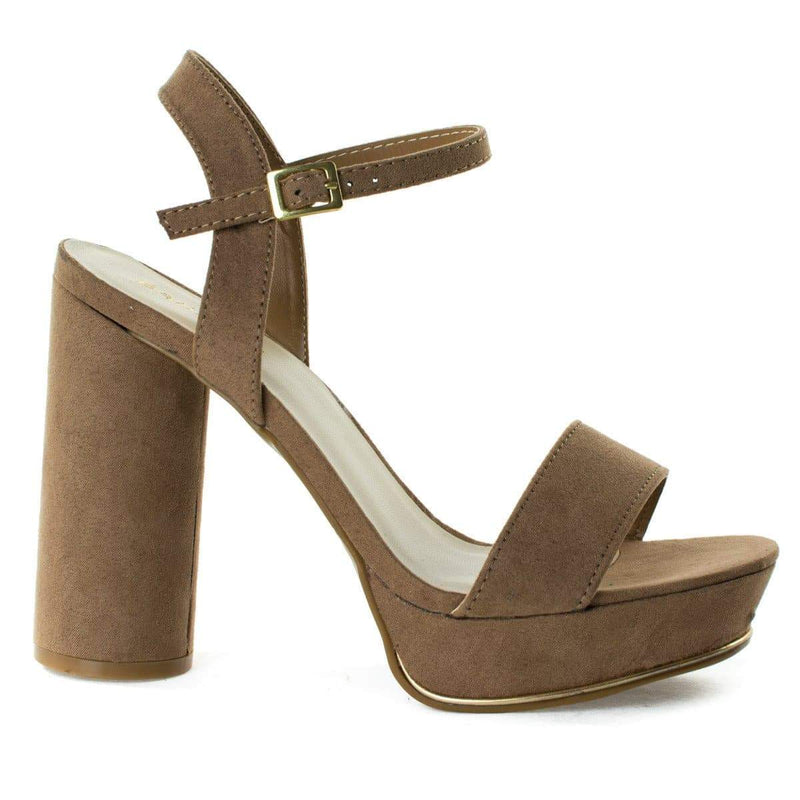 Essence01S By Bamboo, Block Heel Sandal w Metal Strip Trimming. Women's Open Toe Sandal