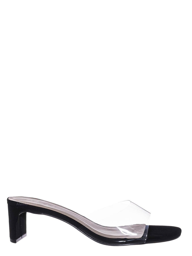 Black Nubuck / Eternal02 Clear Lucite Open Toe Mule -Flat Block Heel Transparent Slipper Sandal