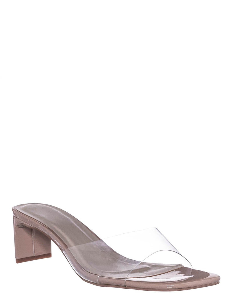 Nud Beige / Eternal02 Clear Lucite Open Toe Mule -Flat Block Heel Transparent Slipper Sandal