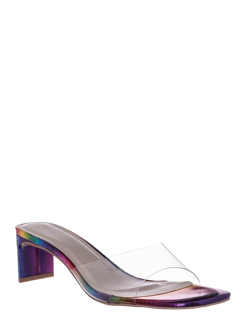 Rainbow / Eternal02 Clear Lucite Open Toe Mule -Flat Block Heel Transparent Slipper Sandal