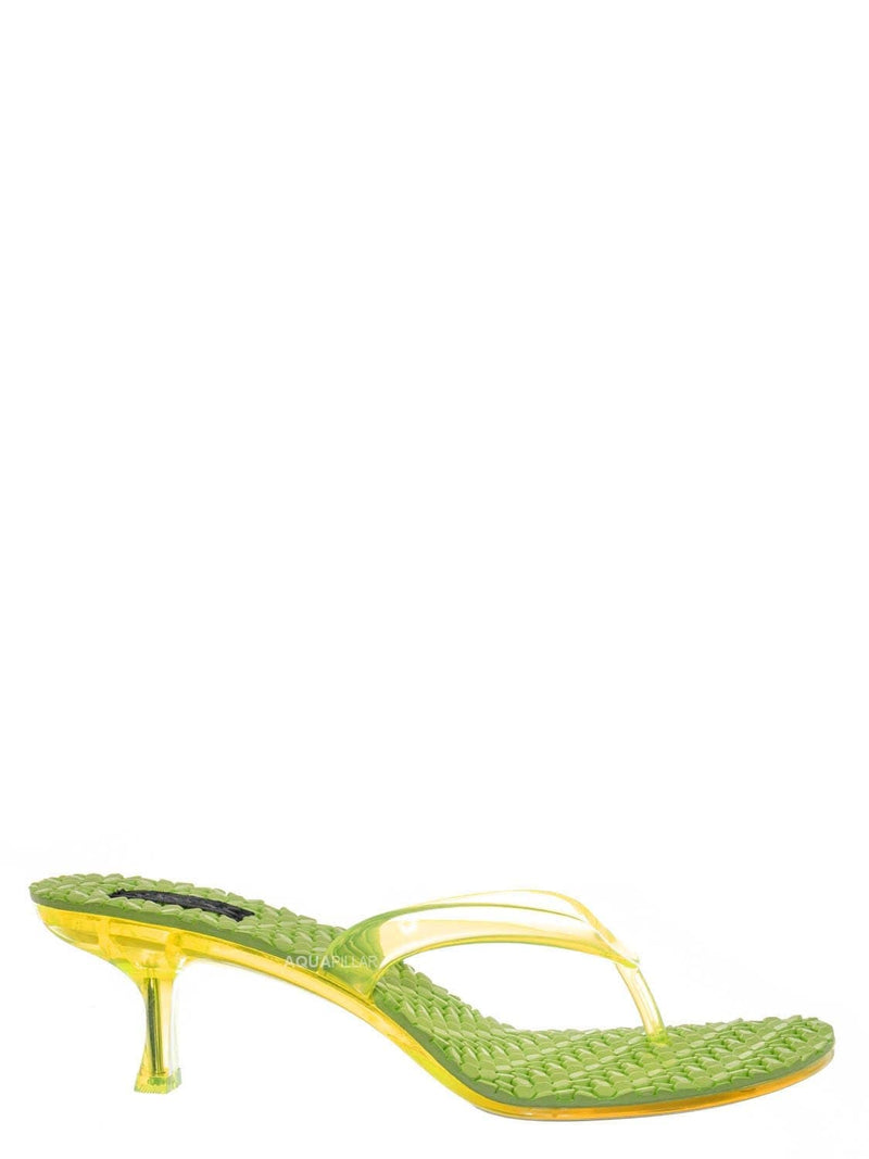 Neon Yellow / Evon01 Lightweight High Heel Jelly Slipper - Clear Lucite Slip On Thong Sandal