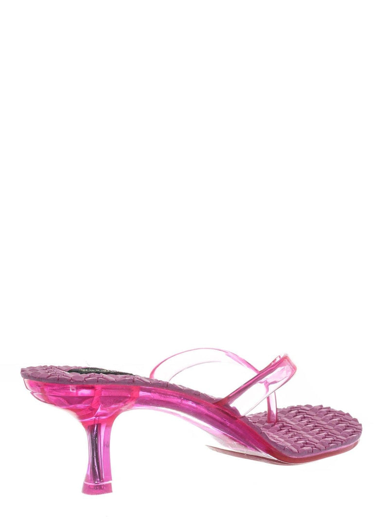 Hot Pink / Evon01 Lightweight High Heel Jelly Slipper - Clear Lucite Slip On Thong Sandal