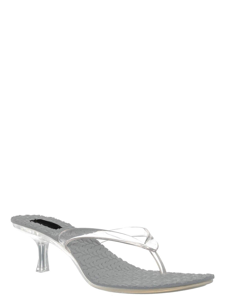 Clear White / Evon01 Lightweight High Heel Jelly Slipper - Clear Lucite Slip On Thong Sandal