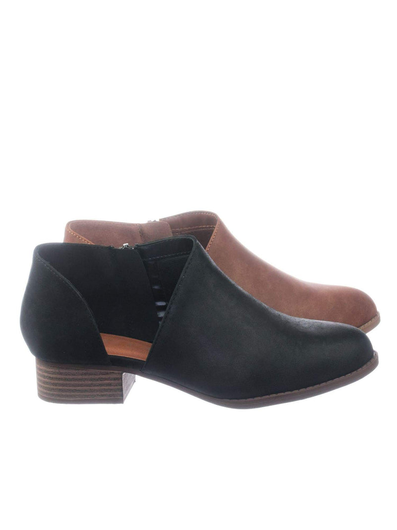 Flare BlackNbPu Stack Heel Ankle Booties w Side Cutout, Women Shoes