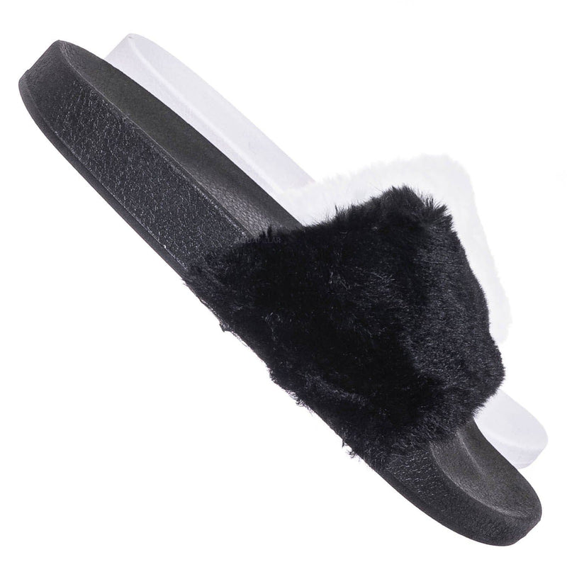 Black Fur / Flatter15 Faux Fur Neon Molded Slipper Sandal - Women Slide In Slides Flats