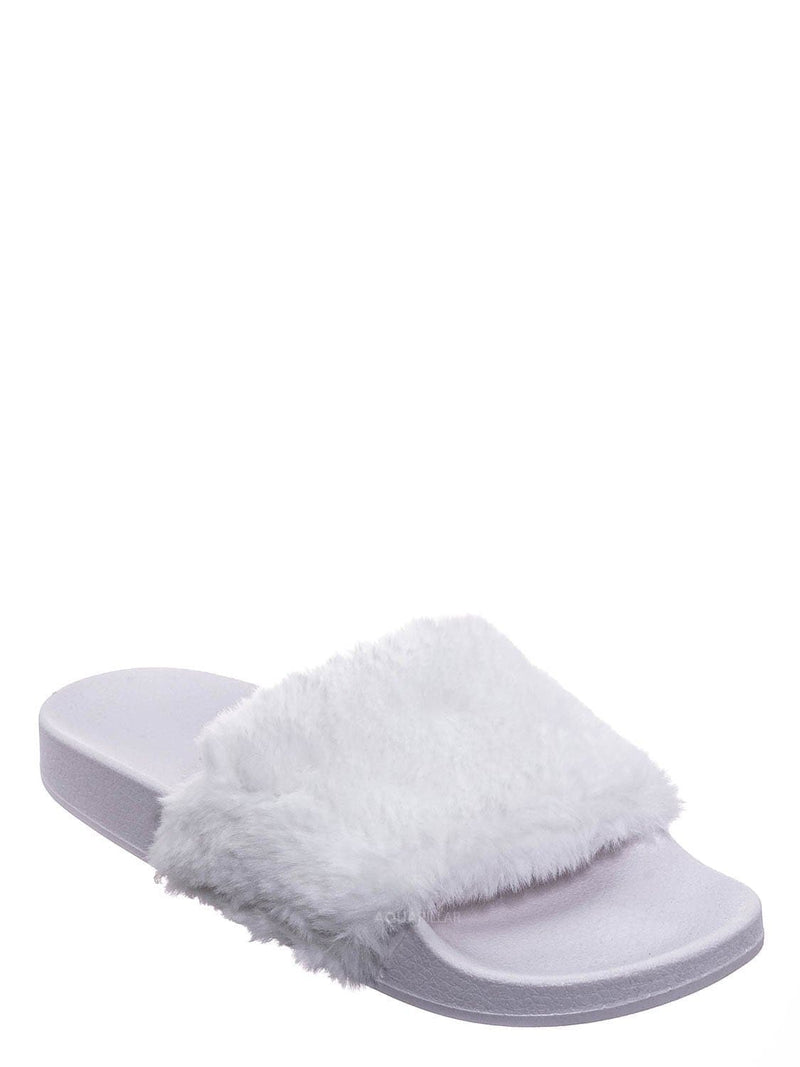 White Fur / Flatter15 Faux Fur Neon Molded Slipper Sandal - Women Slide In Slides Flats