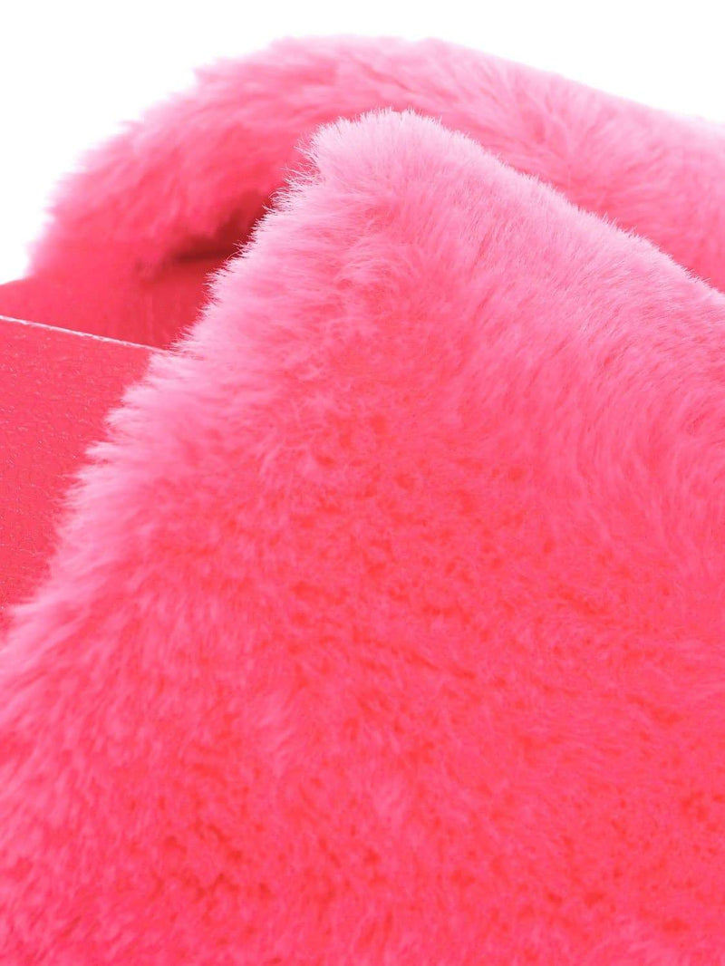 Hot Pink / Flatter15 Faux Fur Neon Molded Slipper Sandal - Women Slide In Slides Flats