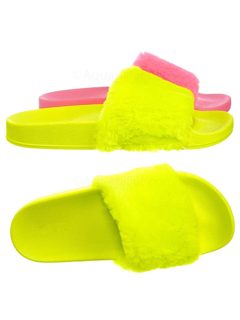 Neon Yellow / Flatter15 Faux Fur Neon Molded Slipper Sandal - Women Slide In Slides Flats