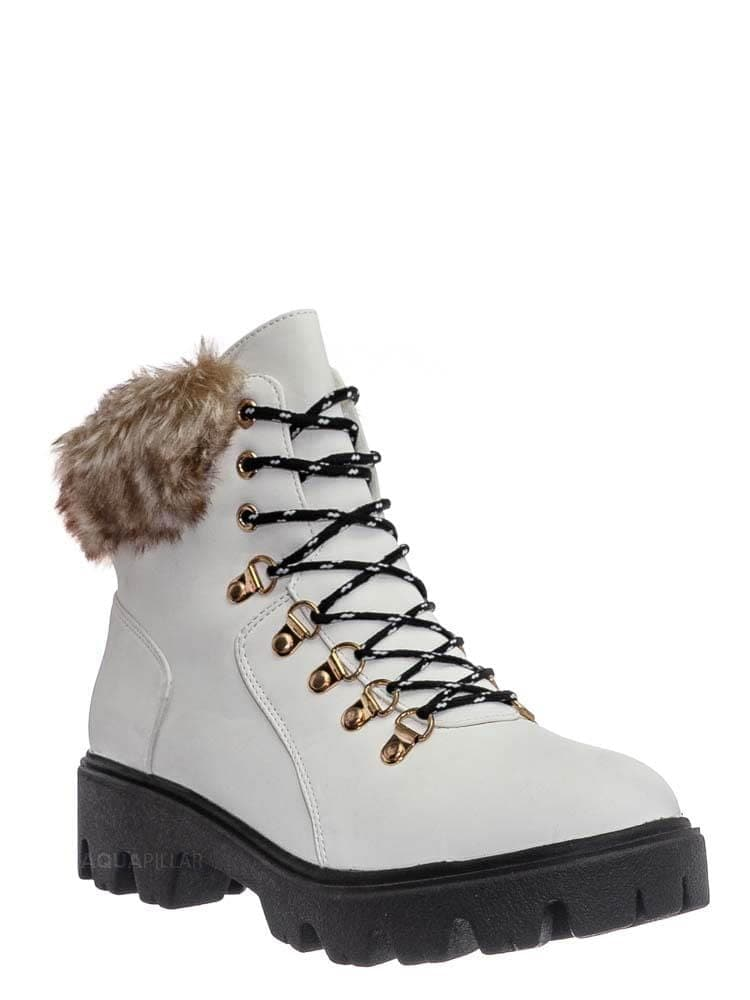 White Nubuck / Force10 Faux Fur Combat Boots - Winter Croc Print Lug Sole Utility Shoe