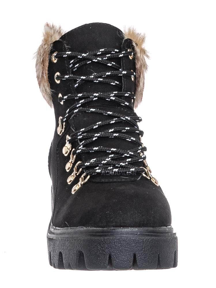 Black F-Suede / Force10 Faux Fur Combat Boots - Winter Croc Print Lug Sole Utility Shoe