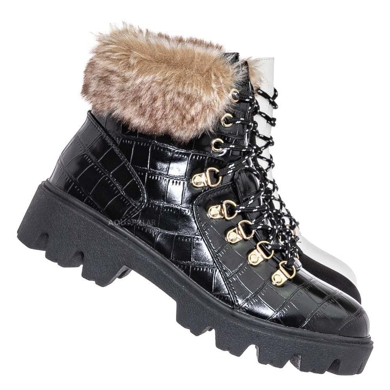 Black Croc / Force10 Faux Fur Combat Boots - Winter Croc Print Lug Sole Utility Shoe
