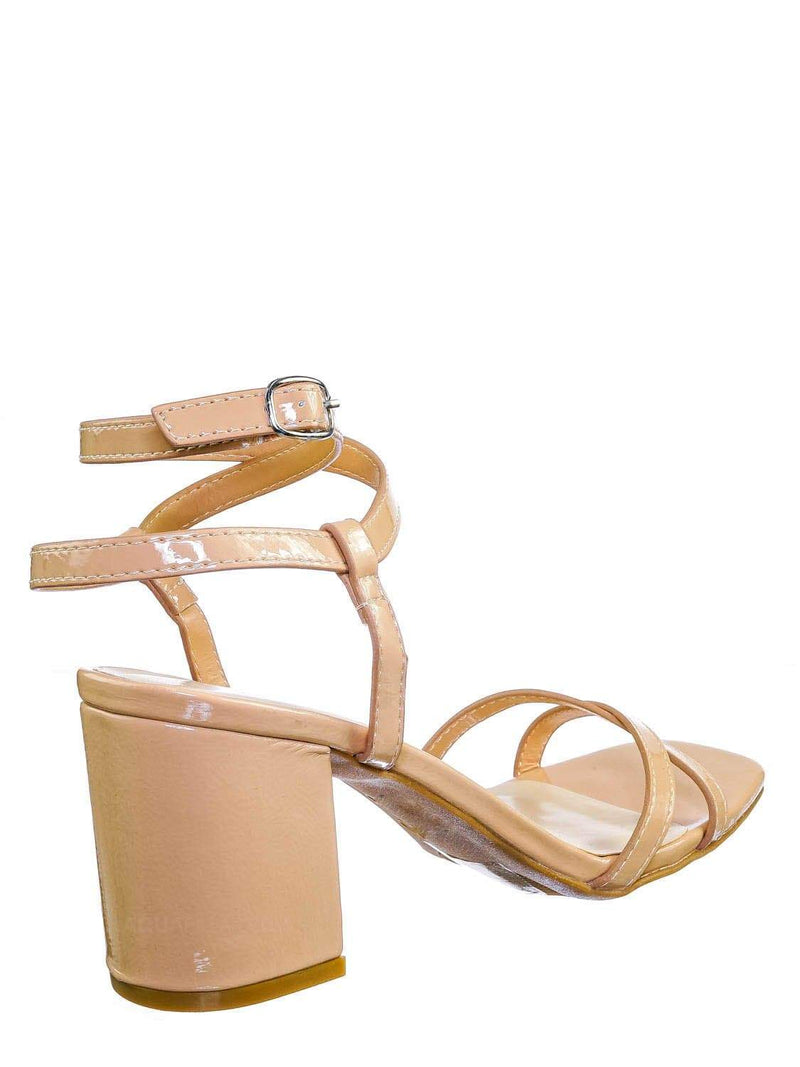 Nude Beige / Forever20 Wraparound Strappy Block Heel Sandal- Women Gladiator Ankle Wrap Shoes