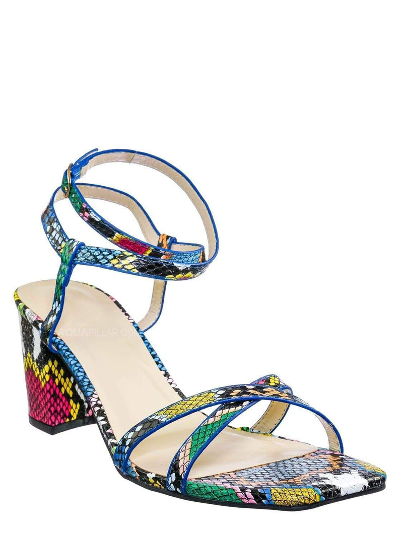 Multi Snake / Forever20 Wraparound Strappy Block Heel Sandal- Women Gladiator Ankle Wrap Shoes