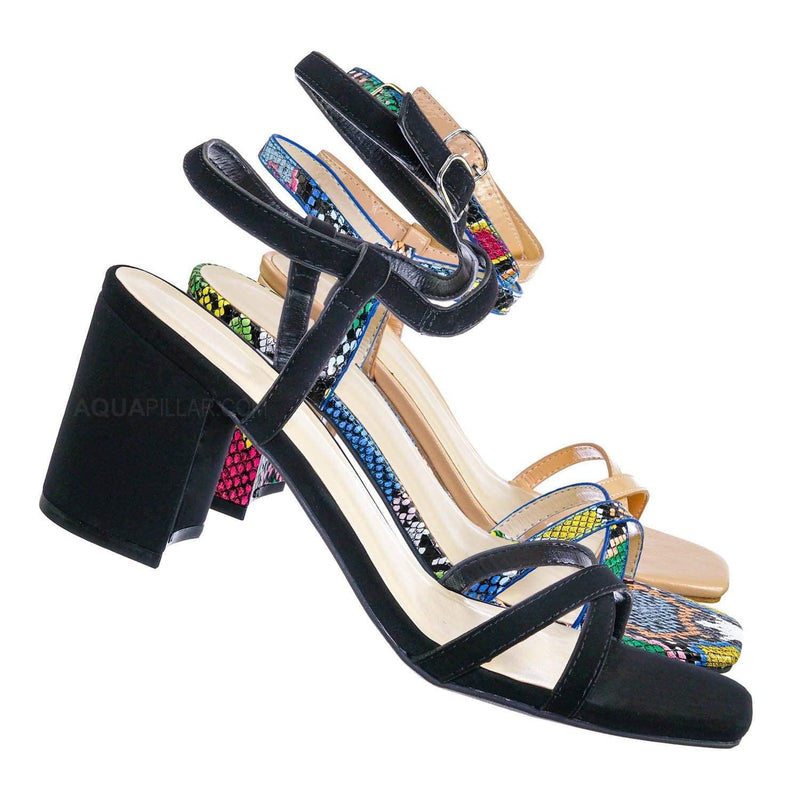 Forever20 Wraparound Strappy Block Heel Sandal- Women Gladiator Ankle Wrap Shoes