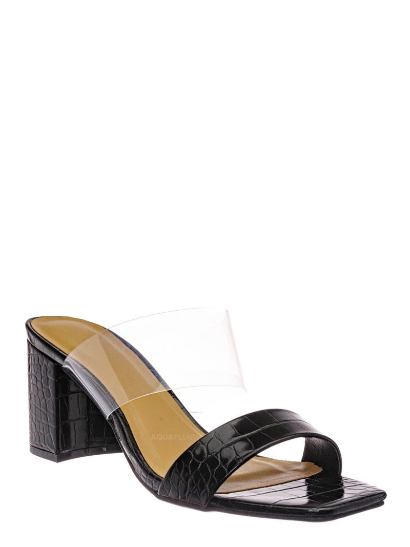 Black Croc / Forever31 Lucite Chunky Block Heel Slides - Womens Open Squared Toe Mules