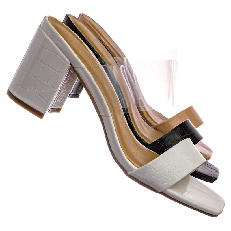 White Croc / Forever31 Lucite Chunky Block Heel Slides - Womens Open Squared Toe Mules