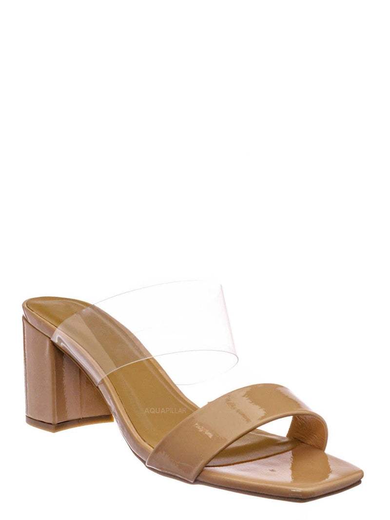 Nude Beige / Forever31 Lucite Chunky Block Heel Slides - Womens Open Squared Toe Mules