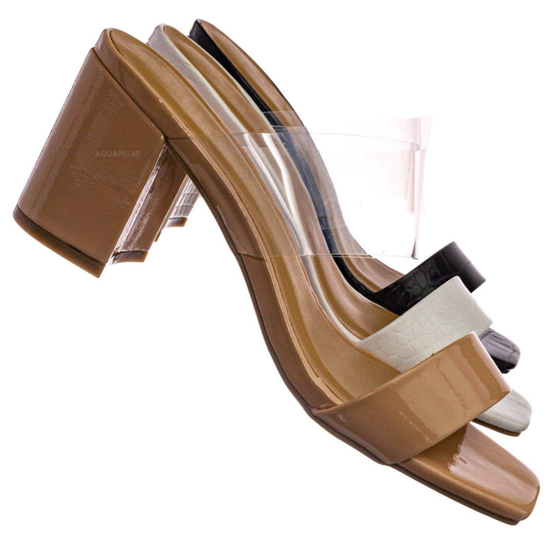 Forever31 Lucite Chunky Block Heel Slides - Womens Open Squared Toe Mules