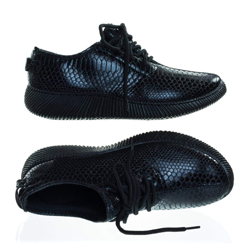 Forward03 Snakeskin Embossed Prints, Lace Up Sneaker w Ribbed Outsole