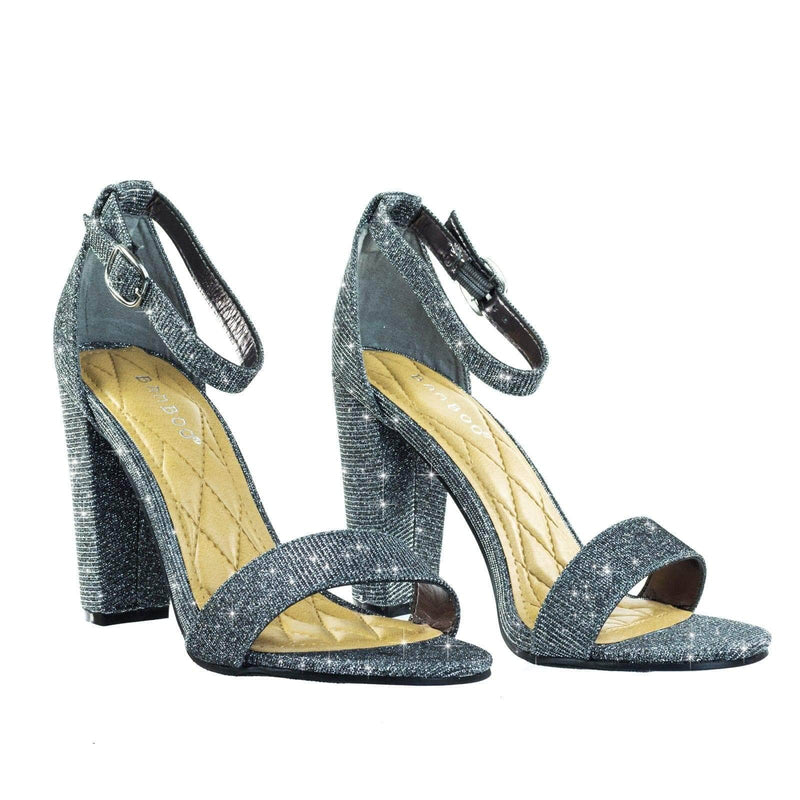 Frenzy Block Heel Mesh Glitter Open Toe Dress Sandal w Adjustable Ankle Strap