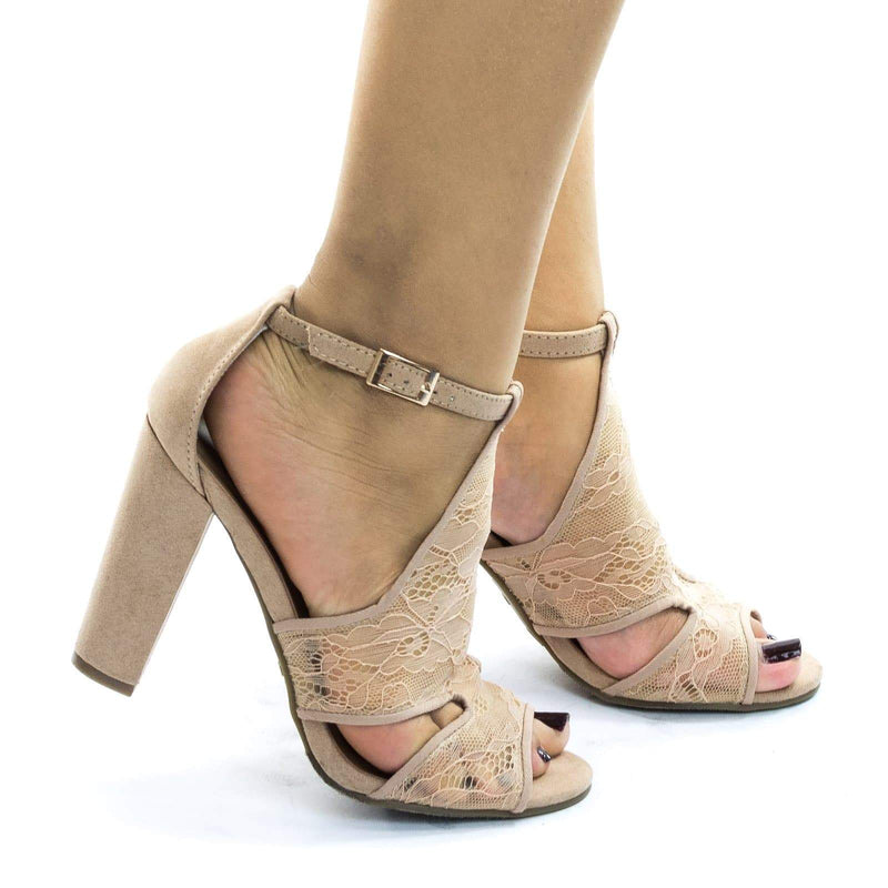 Frenzy23 lace Block Heel Sandal w Embroidered Web Mesh Lace Fabric