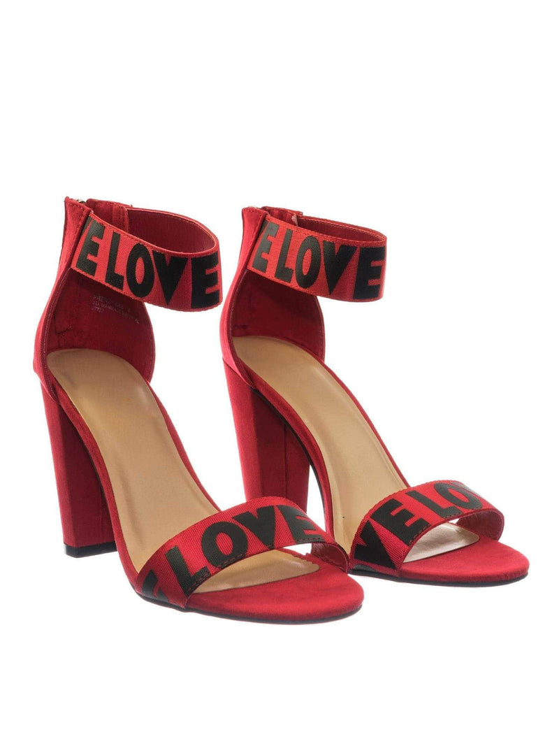Frenzy64 RedFs Lover Letter & Stripe High Block Heel Dress Sandal