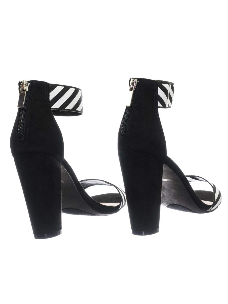 Frenzy64 BlkFs Lover Letter & Stripe High Block Heel Dress Sandal