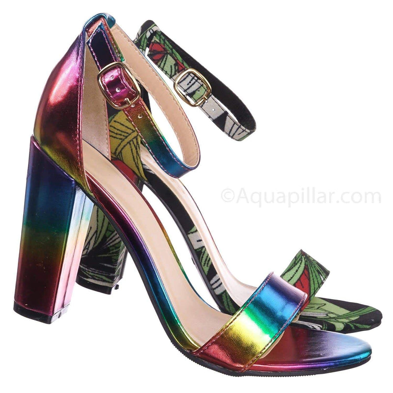 Rainbow Metallic / Frenzy92 RanMpu Block High Heel Dress Sandal w Thick Ankle Strap