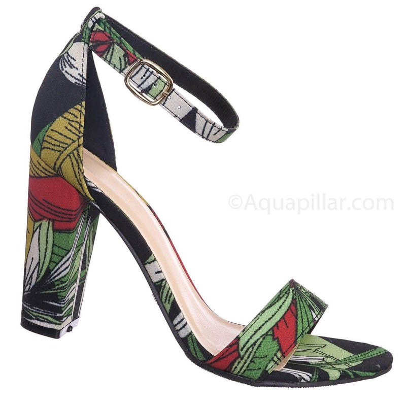 Black Green / Frenzy92 BlkMul Block High Heel Dress Sandal w Thick Ankle Strap