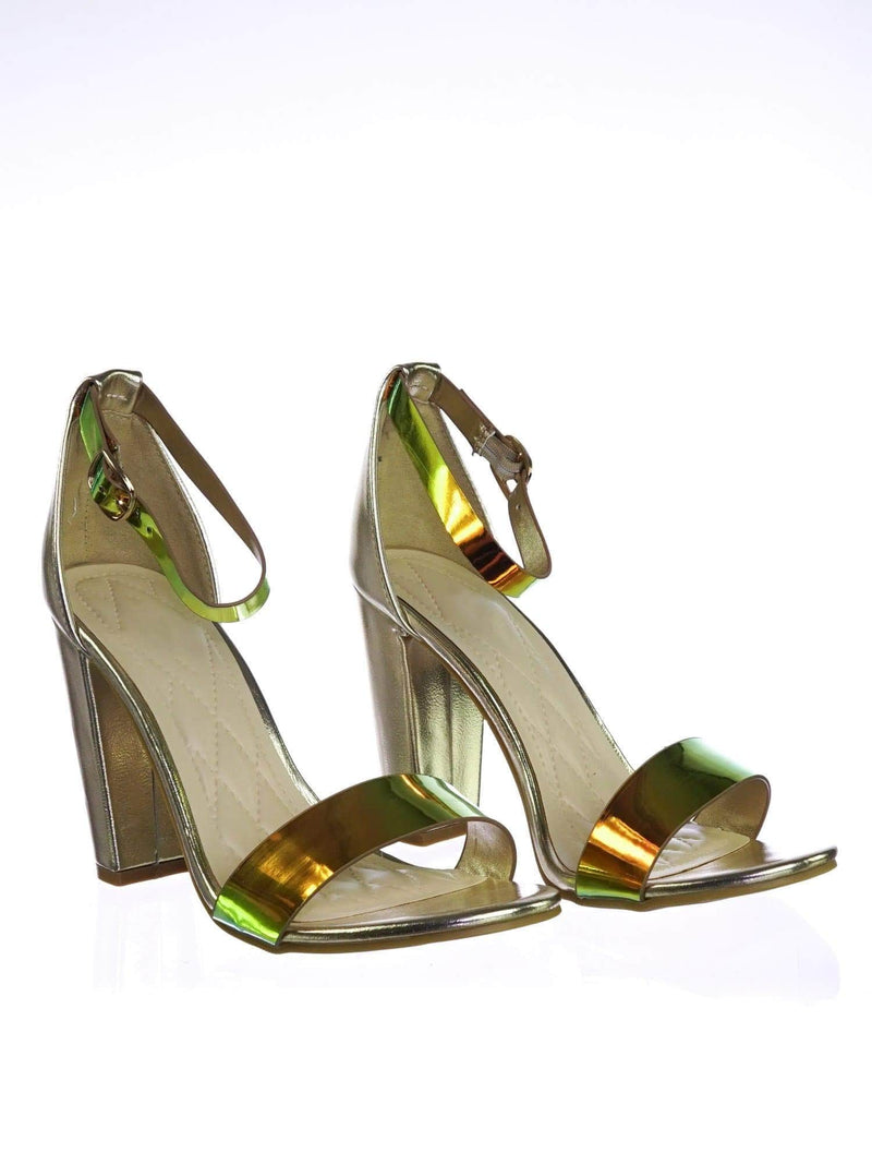 Frenzy98 MermaidPu Holographic Iridescent Classic Block Heel Two Piece Dress Sandal